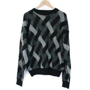 VTG Claybrooke | Black Grey Patterned Sweater | XL